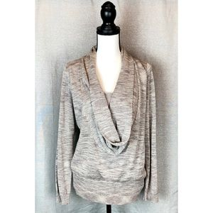 INC Taupe Drape Neck sweater with Gold size 0X